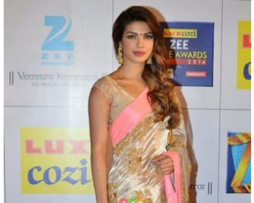 PRIYANKA CHOPRA IN WHITE SILKY GEORGETTE DESIGNER SAREE